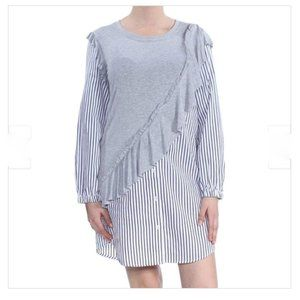 Kensie Striped Ruffle Trim Striped Tunic Dress